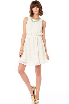 ShopSosie Style : Maureen Cinch Dress in Ivory