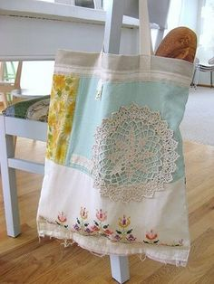 bag made from vintage linens and thrifted fabric