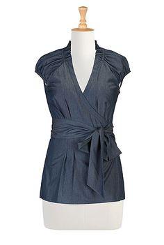 blouses, eshakti, chambray top, sewing women fashions, fashion clothes, fashion dresses, beauti blous, wrap chambray, belts