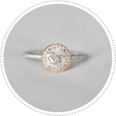 vintage style engagement ring, rose gold engagement ring, round center stone . love the rose gold