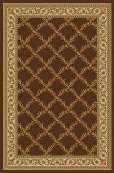 """Ottohome Collection Choclate Floral Trellis Design Modern Area Rug With Non-Skid (Non-Slip) Rubber Backing (5'0""""X6'6"""")"""