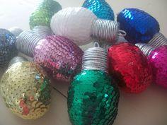 #DIY #Sequined #styrofoam ball #Christmas #lights