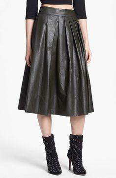 Faux-leather pleated midi skirt
