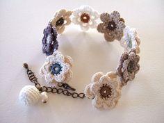 crochet flower motif bracelet
