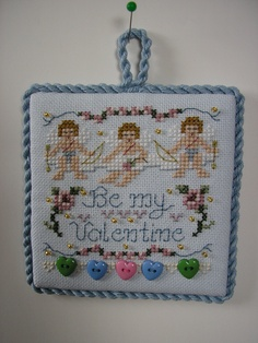 Just Nan Be My Valentine cross stitch ornament