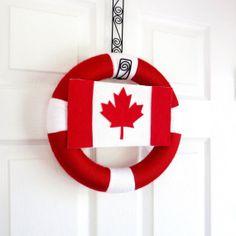Canada Day Yarn Wreath. Canadian Flag Wreath. Red, White, Maple Leaf. Patriotic Wreath, Decor. Summer Decor. Canadian Veteran Gift.