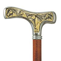 Wild Mustang Walking Cane with Silver Plating and Faux Ivory Relief Carving Handle with walnut stained Shaft. $97