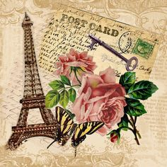 eiffel tower, decoupag, books, rose, postcards