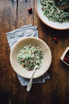 raw cauliflower couscous w/ cherries + a sumac-lemon vinaigrette | dolly and oatmeal
