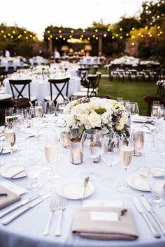 Wedding Centerpiece Idea   Outdoor Wedding   White Wedding Designs Photo: http://www.stylemepretty.com