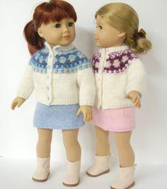 American Girl Doll Knitting Pattern, Cardigan Bohus Blue Shimmer, PDF
