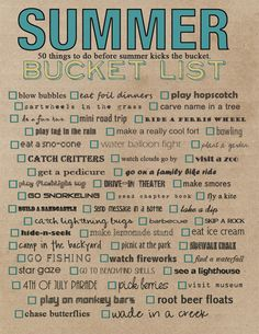 Free Printable Summer Bucket List. I want to do everything on the list!