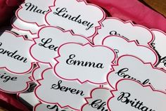 Quatrefoil name tags for Pref Day