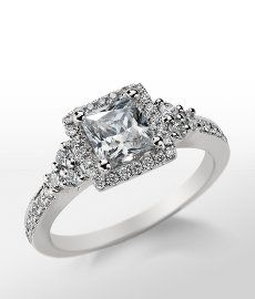 Monique Lhuillier Princess Halo Engagement Ring in Platinum #BlueNile