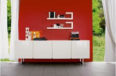 Calligaris Seattle 4 Door Buffet CS/6004-3 (White Frame/ 2 different door colors available) $2391 Modern Star Furniture