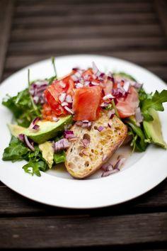 smoked salmon + avocado salad