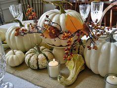 Thanksgiving Tablescape...Burlap and White Pumpkins