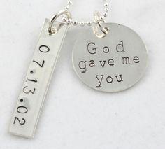 God Gave Me You Wedding Silver Necklace Custom Personalized.     #projectnursery #franklinandben #nursery