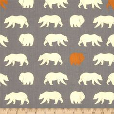Birch Organic Feather River Bear Hike Shroom from @fabricdotcom  Designed by Jay-Cyn for Birch Organic Fabric, this GOTS certified organic cotton print fabric is perfect for quilting, apparel and home décor accents. Colors include off white, orange and grey.