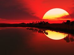 Wow. lion, water reflections, moon, sky, colors, sunsets, reflection photography, dreamscape, sunris