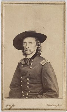 CDV of later Civil War-time Mathew Brady Studio portrait of Major General George A. Custer. This pose truly projects the essence of his charisma and flamboyance.