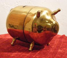 1950s Mod Brass Piggy Bank  Comes apart  Perfect by BaileysBoudoir, $29.00