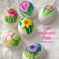 These amazing eggs are created with melted crayon. Learn more from Doodles and Jots.