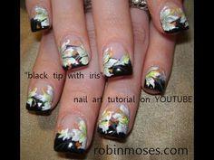 Robin Moses nail art design tutorial  - lilies on black tips.