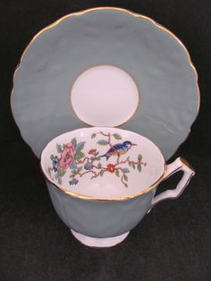Aynsley Pembroke Footed Cup Saucer Rare Teal Green Gray