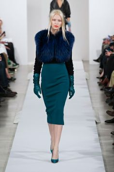 Oscar de la Renta Fall 2013 skirt & gloves, dramatic color, top notsomuch, replace. BTW one of these things is not like the other Lol
