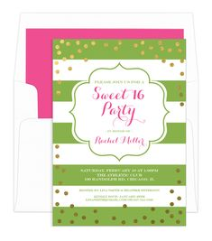 Personalized Nature Green Sweet 16 Gold Confetti Birthday Invitations