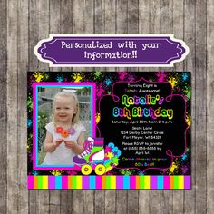 Custom Personalized 80s Invitation with neon by IrrelephantDesigns, $6.99