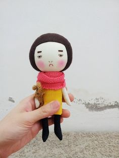Handmade+doll+along+with+her+brown+bunny+on+by+EEchingHandmade,+$32.00