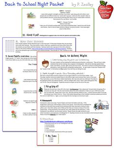 This Back to School Night packet by P. Zealley includes 10 key points for her classroom. Each point is done in a different DJ font & uses a little clip art for added smiles. :)  DJ's Back to School Teacher Contest 2014