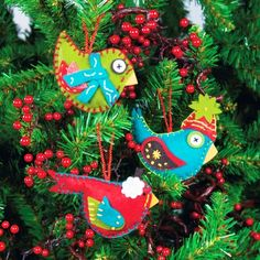 bird felt ornaments