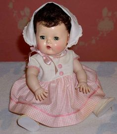 "Rare 13.5"" American Character Tiny Tears BRUNETTE Baby Doll -- from dollyologyvintagedolls on Ruby Lane"