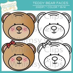 FREE teddy bear faces clip art from Whimsy Clips.