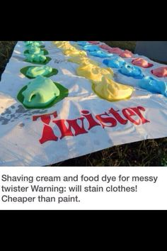 Summer bucket list. Messy twister with shaving cream! ☀️