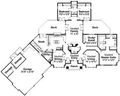 Home Plans HOMEPW00821 - 2,648 Square Feet, 4 Bedroom 2 Bathroom Ranch Home with 3 Garage Bays