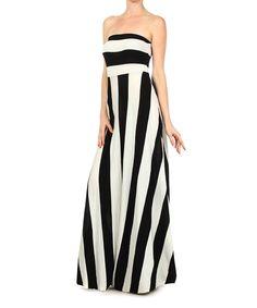 Black & White Stripe Strapless Maxi Dress