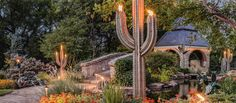 Flaming cacti and giant flowers, party lights to set the mood, ... these things and more add up to a backyard that's imaginative and unique. Create a functional, beautiful outdoor dreamscape.