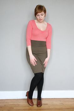 Curvy girl in pencil skirt
