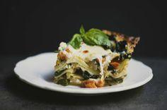 roasted butternut squash, spinach & onion lasagna