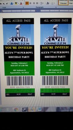 Superbowl Party Invites