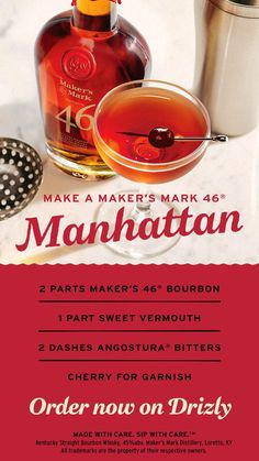 Maker's Mark 46 delivers the best tastes of the season with French oak wood staves, vanilla and caramel. Try it out in our favorite Manhattan recipe.