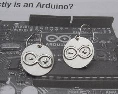 Arduino Sterling Silver Geeky Nerdy Earrings by nicholasandfelice, $20.00