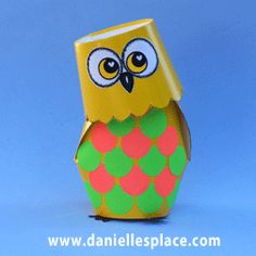Bobble Head Owl Cup Craft for Kids from www.daniellesplace.com