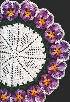 Pansy Doilie, crochet pattern.