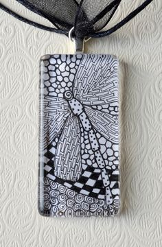 Zentangle Pendant Dragonfly Necklace.