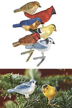 Glittery glass bird ornaments